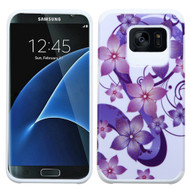 Hybrid Multi-Layer Armor Case for Samsung Galaxy S7 Edge - Hibiscus Flower Romance Purple