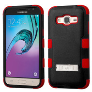 Military Grade TUFF Hybrid Kickstand Case for Samsung Galaxy Amp Prime / Express Prime / J3 / Sol - Black Red