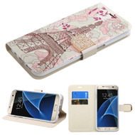 Art Design Portfolio Leather Wallet for Samsung Galaxy S7 Edge - Eiffel Tower