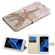Art Design Portfolio Leather Wallet for Samsung Galaxy S7 - Eiffel Tower