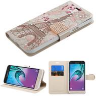Art Design Portfolio Leather Wallet for Samsung Galaxy Amp Prime / Express Prime / J3 / Sol - Eiffel Tower