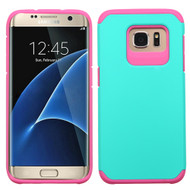 Hybrid Multi-Layer Armor Case for Samsung Galaxy S7 Edge - Teal Hot Pink