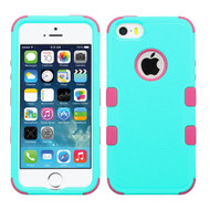 Military Grade Certified TUFF Hybrid Case for iPhone SE / 5S / 5 - Teal Hot Pink