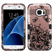 Military Grade Certified TUFF Image Hybrid Case for Samsung Galaxy S7 - Lace Flowers Rose Gold