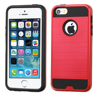 Brushed Hybrid Armor Case for iPhone SE / 5S / 5 - Red