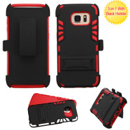 Dual Layer Hybrid Holster Armor Case with Kickstand and Belt Clip for Samsung Galaxy S7 Edge - Black Red