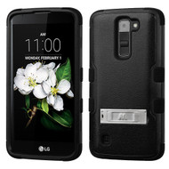 Military Grade Certified TUFF Hybrid Armor Case with Stand for LG K7 / Treasure LTE / Tribute 5 - Black