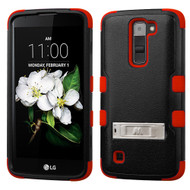 Military Grade Certified TUFF Hybrid Armor Case with Stand for LG K7 / Treasure LTE / Tribute 5 - Black Red
