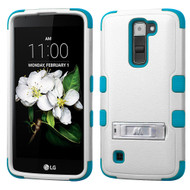 Military Grade Certified TUFF Hybrid Armor Case with Stand for LG K7 / Treasure LTE / Tribute 5 - White Teal