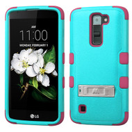 Military Grade Certified TUFF Hybrid Armor Case with Stand for LG K7 / Treasure LTE / Tribute 5 - Teal Hot Pink