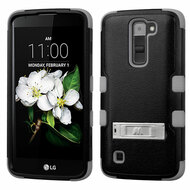 Military Grade Certified TUFF Hybrid Case with Stand for LG K7 / Treasure LTE / Tribute 5 - Black Grey