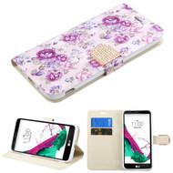 Art Design Portfolio Leather Wallet for LG G5 - Fresh Purple Flowers