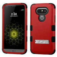Military Grade Certified TUFF Hybrid Armor Case with Stand for LG G5 - Red