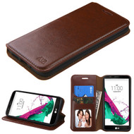 Book-Style Leather Folio Case for LG G5 - Brown