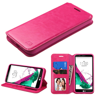 Book-Style Leather Folio Case for LG G5 - Hot Pink