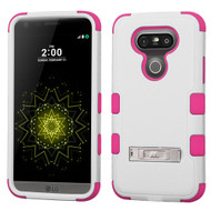 Military Grade Certified TUFF Hybrid Armor Case with Stand for LG G5 - White Hot Pink