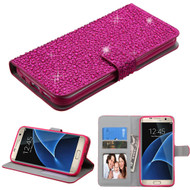 Diamante Leather Wallet Case for Samsung Galaxy S7 Edge - Hot Pink