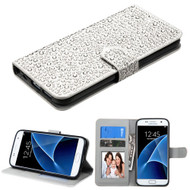 Diamante Leather Wallet Case for Samsung Galaxy S7 - Silver