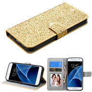 Diamante Leather Wallet Case for Samsung Galaxy S7 - Gold