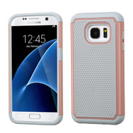 TotalDefense Hybrid Case for Samsung Galaxy S7 - Grey Rose Gold