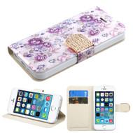*SALE* Art Design Portfolio Leather Wallet for iPhone SE / 5S / 5 - Fresh Purple Flowers