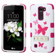 Military Grade Certified TUFF Image Hybrid Armor Case with Stand for LG K7 / Treasure LTE / Tribute 5 - Butterfly