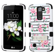 Military Grade Certified TUFF Image Hybrid Armor Case with Stand for LG K7 / Treasure LTE / Tribute 5 - Fresh Roses