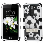 Military Grade Certified TUFF Hybrid Case with Stand for LG K7 / Treasure LTE / Tribute 5 - Soccer Ball