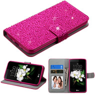 Diamante Leather Wallet Case for LG K7 / K8 / Escape 3 / Treasure LTE / Tribute 5 - Hot Pink