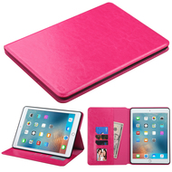 Book-Style Leather Folio Case for iPad Pro 9.7 inch - Hot Pink
