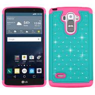 TotalDefense Diamond Hybrid Case for LG G Stylo / Vista 2 - Teal Hot Pink