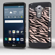 Military Grade Certified TUFF Trooper Dual Layer Hybrid Armor Case for LG G Stylo / Vista 2 - Zebra Rose Gold