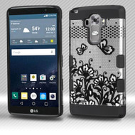 Military Grade Certified TUFF Trooper Dual Layer Hybrid Armor Case for LG G Stylo / Vista 2 - Lace Flowers Black
