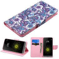 Executive Graphic Leather Wallet Case for LG G5 - Persian Paisley