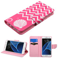 Executive Graphic Leather Wallet Case for Samsung Galaxy S7 Edge - Pink Shell
