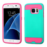 Brushed Hybrid Armor Case for Samsung Galaxy S7 - Teal Hot Pink