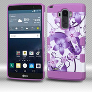 Military Grade Certified TUFF Trooper Dual Layer Hybrid Armor Case for LG G Stylo / Vista 2 - Purple Hibiscus Flower