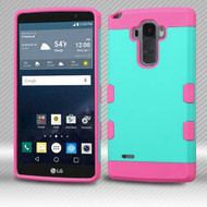 Military Grade Certified TUFF Trooper Dual Layer Hybrid Armor Case for LG G Stylo / Vista 2 - Teal Hot Pink