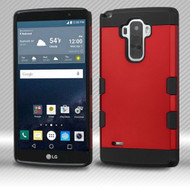Military Grade Certified TUFF Trooper Dual Layer Hybrid Armor Case for LG G Stylo / Vista 2 - Red