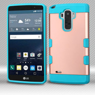 Military Grade Certified TUFF Trooper Dual Layer Hybrid Armor Case for LG G Stylo / Vista 2 - Rose Gold Teal