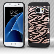 Military Grade Certified TUFF Trooper Dual Layer Hybrid Armor Case for Samsung Galaxy S7 - Zebra Rose Gold