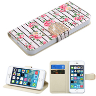 Art Design Portfolio Leather Wallet for iPhone SE / 5S / 5 - Fresh Roses