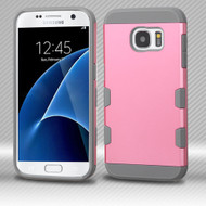 Military Grade Certified TUFF Trooper Dual Layer Hybrid Armor Case for Samsung Galaxy S7 - Pearl Pink Grey