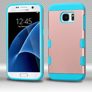 Military Grade Certified TUFF Trooper Dual Layer Hybrid Armor Case for Samsung Galaxy S7 - Rose Gold Teal