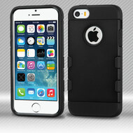 *SALE* Military Grade TUFF Trooper Dual Layer Hybrid Armor Case for iPhone SE / 5S / 5 - Black