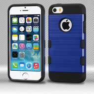 Military Grade TUFF Trooper Dual Layer Hybrid Armor Case for iPhone SE / 5S / 5 - Brushed Blue