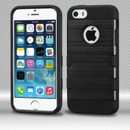 *SALE* Military Grade TUFF Trooper Dual Layer Hybrid Armor Case for iPhone SE / 5S / 5 - Brushed Black