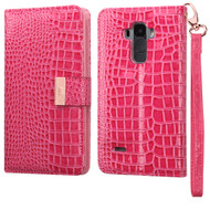 Crocodile Embossed Leather Wallet Case for LG G Stylo / Vista 2 - Hot Pink