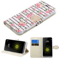 Art Design Portfolio Leather Wallet for LG G5 - Fresh Roses