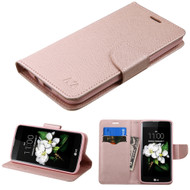 Diary Leather Wallet Case for LG K7 / K8 / Escape 3 / Treasure LTE / Tribute 5 - Rose Gold